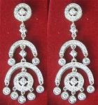 Diamond Earrings 4.07 Ct White Diamond Round Shape Sterling Silver Wedding