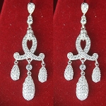 diamond Wedding Earrings 3.25 Ct White Diamond Round Shape Sterling Silver Chandelier