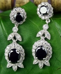 Black Diamond Earrings 4.34 Ct  Black & White Diamond Round Shape Sterling Silver