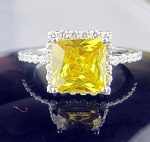 Diamond Ring For Sale 5.15 Ct Fancy Yellow Diamond Princess Sterling Silver Engagement