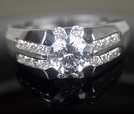 Diamond Engagement Ring 2.83Ct White Round Diamond Sterling Silver Wedding Soltaire