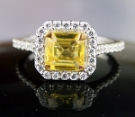 Ring For Sale 4.16 Ct Yellow Diamond Cushion Shape Sterling Silver Solitaire