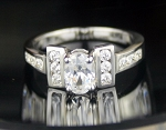 Diamond Ring Designes 2.04 Ct White Diamond Oval Shape Sterling Silver Solitaire