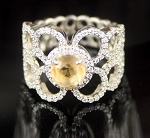 Ring Design 2.67 Ct Yellow Diamond Round Shape Sterling Silver Engagement