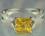 Unique Diamond Ring 5.22 Ct Yellow Diamond Princess Shape Sterling Silver Solitaire
