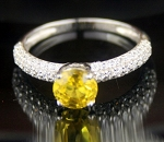 Solitaire Ring wz Accent 3.17 Ct Yellow Diamond Round Shape Sterling Silver Annivrsary