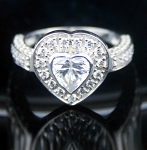 Engagement Ring Sale 3.71 Ct White Diamond Heart Shape Sterling Silver Wedding