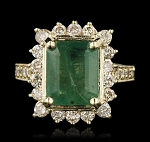 Natural Gemstone Rings 1.00 Ct Natural Certified Diamond 1.65 Ct Emerald Solid Yellow Gold Weekend