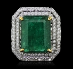Emerald Rings 2.25 Ct Natural Certified Diamond 2.20 Ct Gemstone Solid White Gold Party