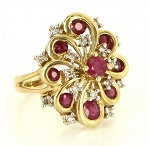 Gemstone Engagement Rings 0.65 Ct Natural Certified Diamond 1.50 Ct Ruby Solid Yellow Gold Workwear