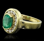 Gemstone Rings Online 0.60 Ct Natural Certified Diamond 1.20 Ct Emerald Solid Yellow Gold Vacation
