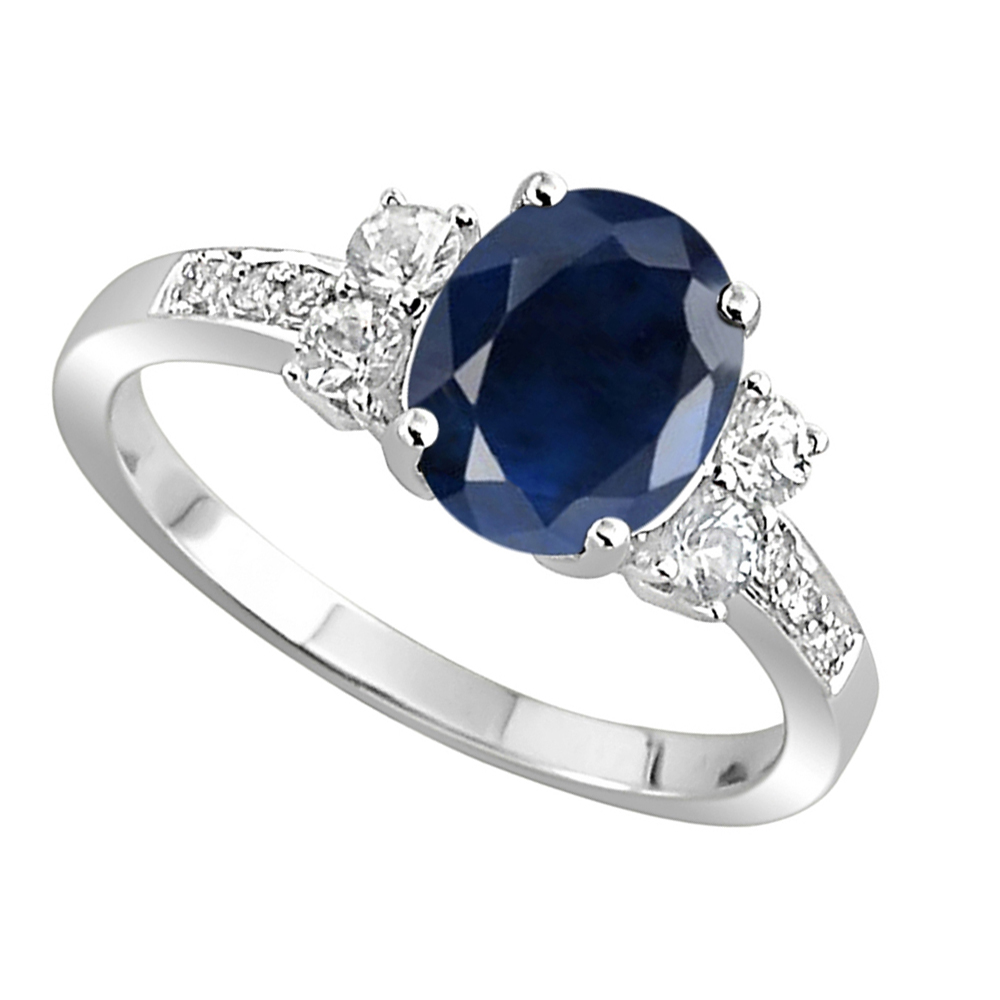 5aef14ab7fd3 ... Gemstone Rings Online 0.50 Ct Natural Certified Diamond 1.00 Ct Blue  Sapphire Solid White Gold Everyday ...