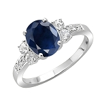 Gemstone Rings Online 0.50 Ct Natural Certified Diamond 1.00 Ct Blue Sapphire Solid White Gold Everyday