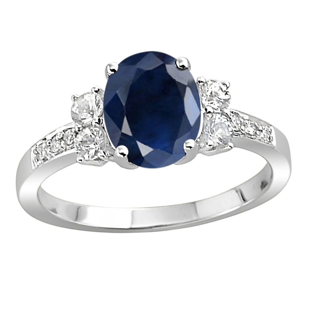 242f14fa8eb0 ... Gemstone Rings Online 0.50 Ct Natural Certified Diamond 1.00 Ct Blue  Sapphire Solid White Gold Everyday