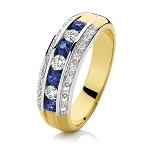 Gemstone Ring Design 0.60 Ct Natural Certified Diamond 0.80 Ct Blue Sapphire Solid Yellow Gold Office Wear