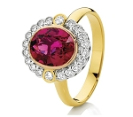 Gemstone Rings 0.65 Ct Natural Certified Diamond 1.50 Ct Ruby Solid Yellow Gold Party