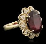 Gemstone Rings 0.62 Ct Natural Certified Diamond 1.25 Ct Garnet Solid Yellow Gold Vacation