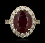 Gemstone Rings Online 0.65 Ct Natural Certified Diamond 1.25 Ct Ruby Solid Yellow Gold Office Wear