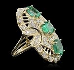 Gemstone Rings Online 0.75 Ct Natural Certified Diamond 1.50 Ct Emerald Solid Yellow Gold Festive