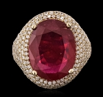 Gemstone Rings 2.50 Ct Natural Certified Diamond 2.00 Ct Ruby Solid Yellow Gold Party