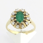 Gemstone Engagement Rings 0.50 Ct Natural Certified Diamond 1.00 Ct Emerald Solid Yellow Gold Workwear