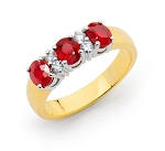 Gemstone Rings Online 0.25 Ct Natural Certified Diamond 1.50 Ct Ruby Solid Yellow Gold Vacation