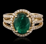Gemstone Ring Design 1.50 Ct Natural Certified Diamond 1.75 Ct Emerald Solid Yellow Gold Everyday