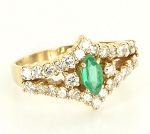 Gemstone Ring Design 0.65 Ct Natural Certified Diamond 0.80 Ct Emerald Solid Yellow Gold Office Wear