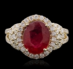 Natural Gemstone Rings 1.00 Ct Natural Certified Diamond 1.50 Ct Ruby Solid Yellow Gold Special Occasion