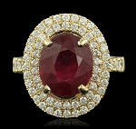 Gemstone Rings 1.25 Ct Natural Certified Diamond 1.65 Ct Ruby Solid Yellow Gold Festive