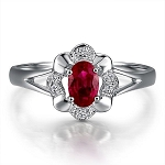 Gemstone Rings 0.20 Ct Natural Certified Diamond 0.80 Ct Ruby Solid Yellow Gold Everyday