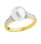 Gemstone Rings Online 0.56 Ct Natural Certified Diamond 3.25 Ct Pearl Solid Yellow Gold Special Occasion