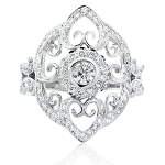 Ladies Diamond Ring 1.00 Ct Natural Certified Diamond Solid White Gold Designer Festive