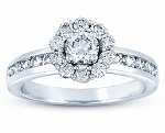 Unique Wedding Rings 1.25 Ct Solitaire Certified Diamond Wz Accent Solid White Gold Wedding