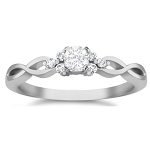 Diamond Ladies Ring 0.43 Ct Natural Certified Diamond Solid White Gold Designer Weekend