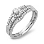 Ladies Wedding Rings 1.20 Ct Certified Diamond Wz Accent Solid White Gold Set Wedding