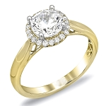 Wedding Rings Women 1.00 Ct Solitaire Certified Diamond Wz Accent Solid Yellow Gold Wedding
