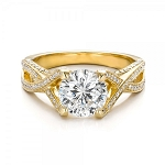 1.40 Ct Solitaire Certified Diamond Wz Accent Solid Yellow Gold Ring Wedding