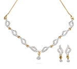 Bridal diamond Necklace Set 3.60 Ct Solid Gold For Wedding Natural Certified