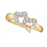 Gold With Diamond Ring Natural Round Certified Diamond 0.1 Ct Office Wear