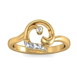 Gold With Diamond Ring Natural Round Certified Diamond 0.09 Ct Everyday