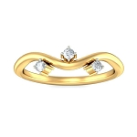 Gold With Diamond Ring Natural Round Certified Diamond 0.09 Ct Party