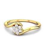 Gold Diamond Rings Natural Round Certified Diamond 0.07 Ct Workwear