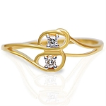 Diamond Gold Ring Natural Round Certified Diamond 0.1 Ct Solid Gold  Office Wear