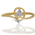 Gold With Diamond Ring Natural Round Certified Diamond 0.08 Ct Party