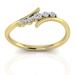 Diamond Ladies Ring Natural Round Certified Diamond 0.12 Ct Solid Gold  Office Wear