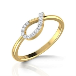 Gold Diamond Rings Natural Round Certified Diamond 0.2 Ct Festive