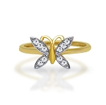 Ladies Diamond Ring Natural Round Certified Diamond 0.15 Ct Solid Gold  Office Wear