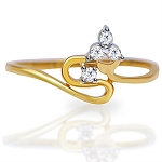 Gold Diamond Rings Natural Round Certified Diamond 0.08 Ct Weekend