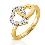 Gold With Diamond Ring Natural Round Certified Diamond 0.2 Ct Festive